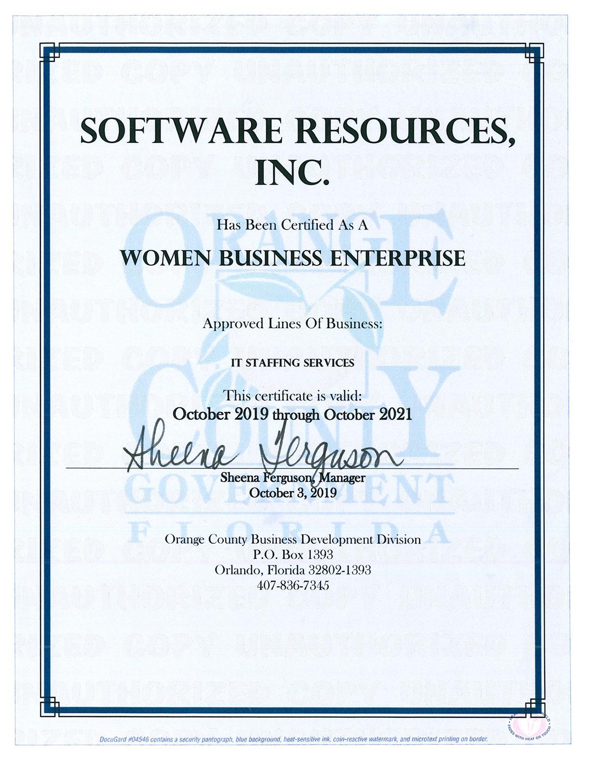 Women Business Enterprise Certificate